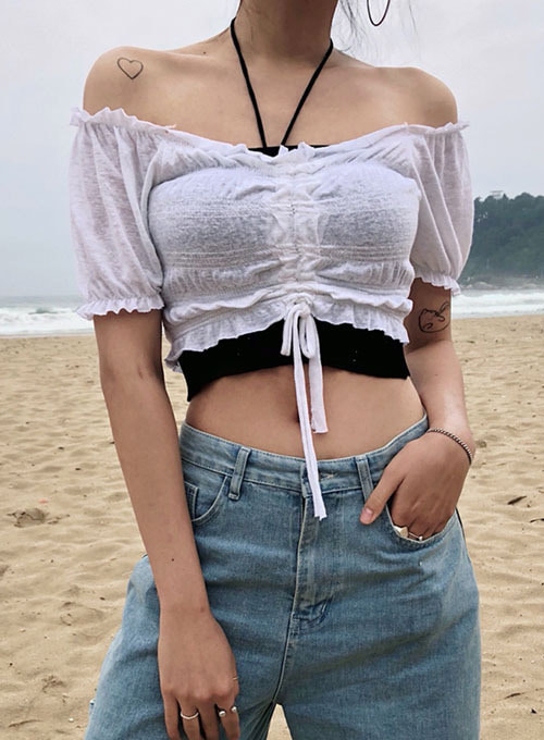 cloud shirring crop top (2colors!)