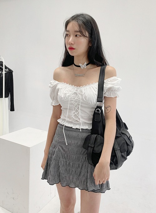 back smoke corset top (2colors!) 블랙 당일발송