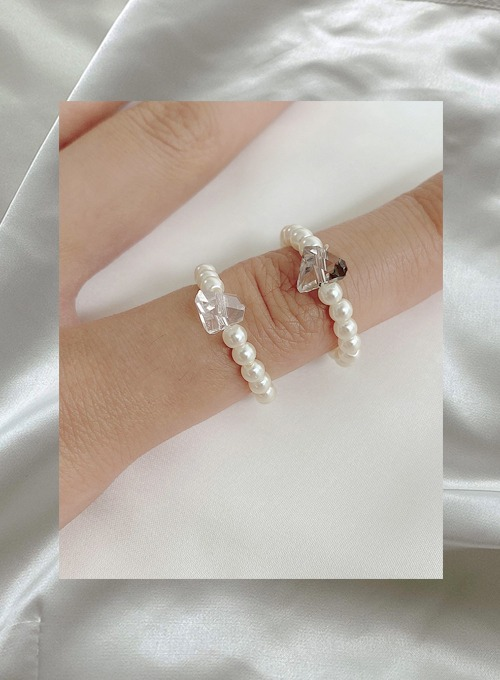 gem pearl ring (2colors!) 당일발송