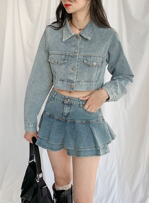 cropped denim jk