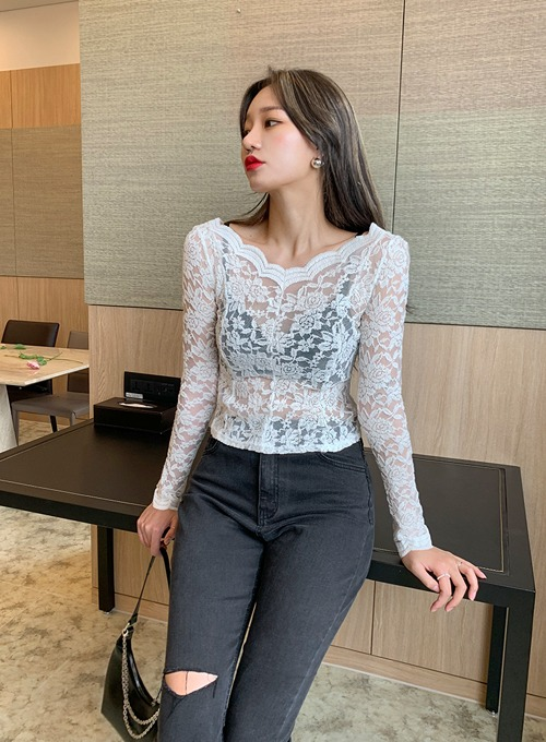 flower wave lace top (2colors!)