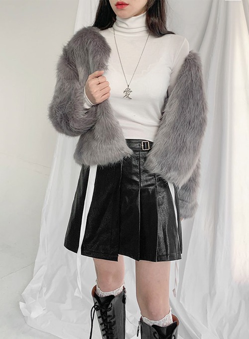 [특가할인] collarless fur jk (2colors!)