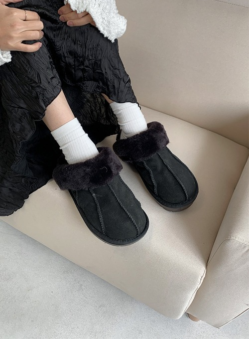 wool fur slippers (2colors!)
