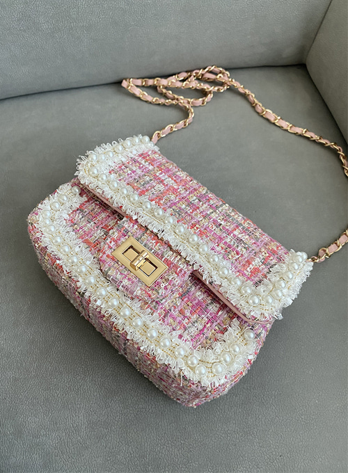tweed pearl chain bag (2colors!)