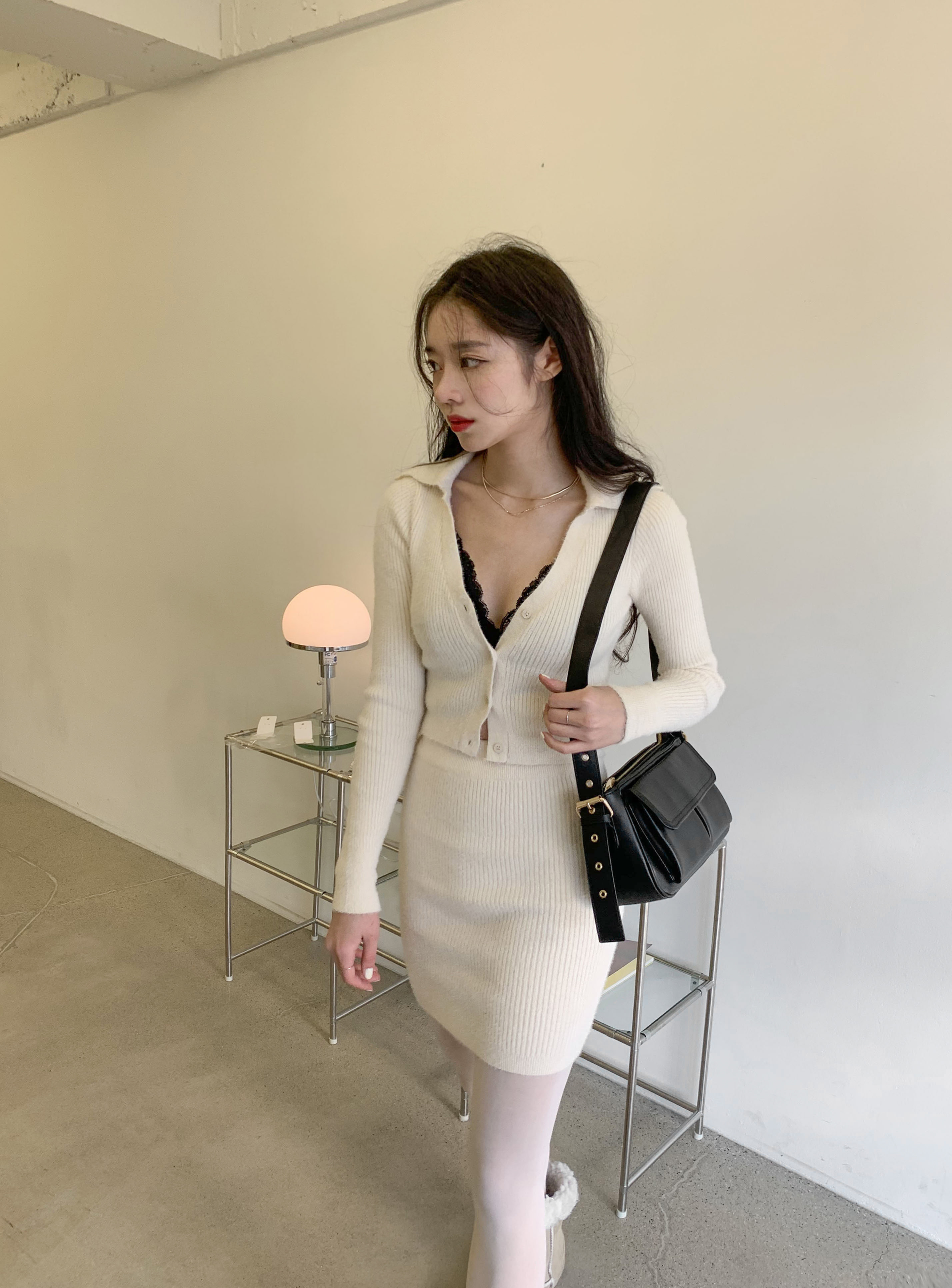 angora collar two-piece 당일발송