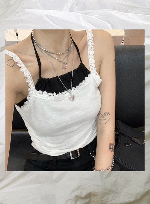 lace square sleeveless (2colors!) 당일발송