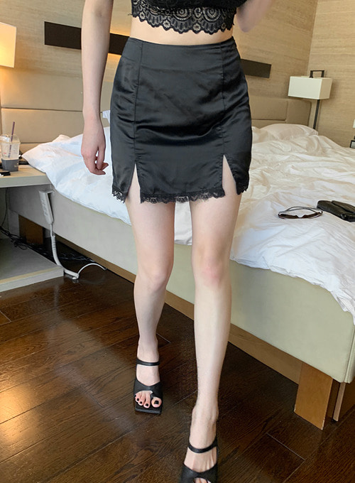 [dryrose made] silky satin cutting  sk (black color!) 당일발송
