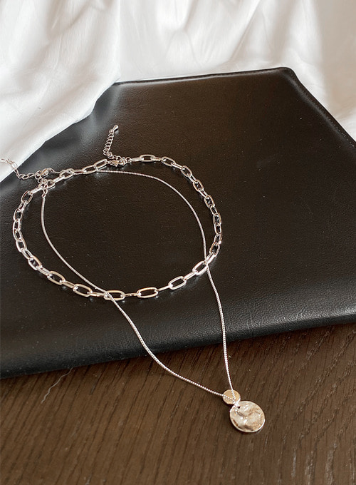 chain coin necklace set (2colors!)