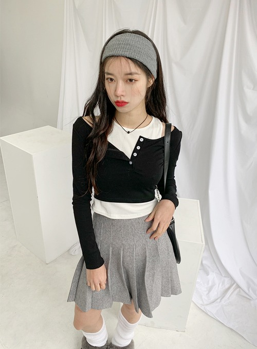button layered top (2colors!) 주문폭주