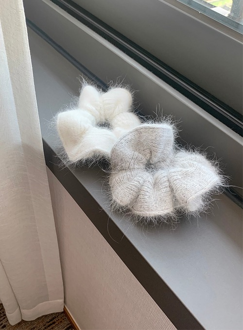 angora knit scrunchie